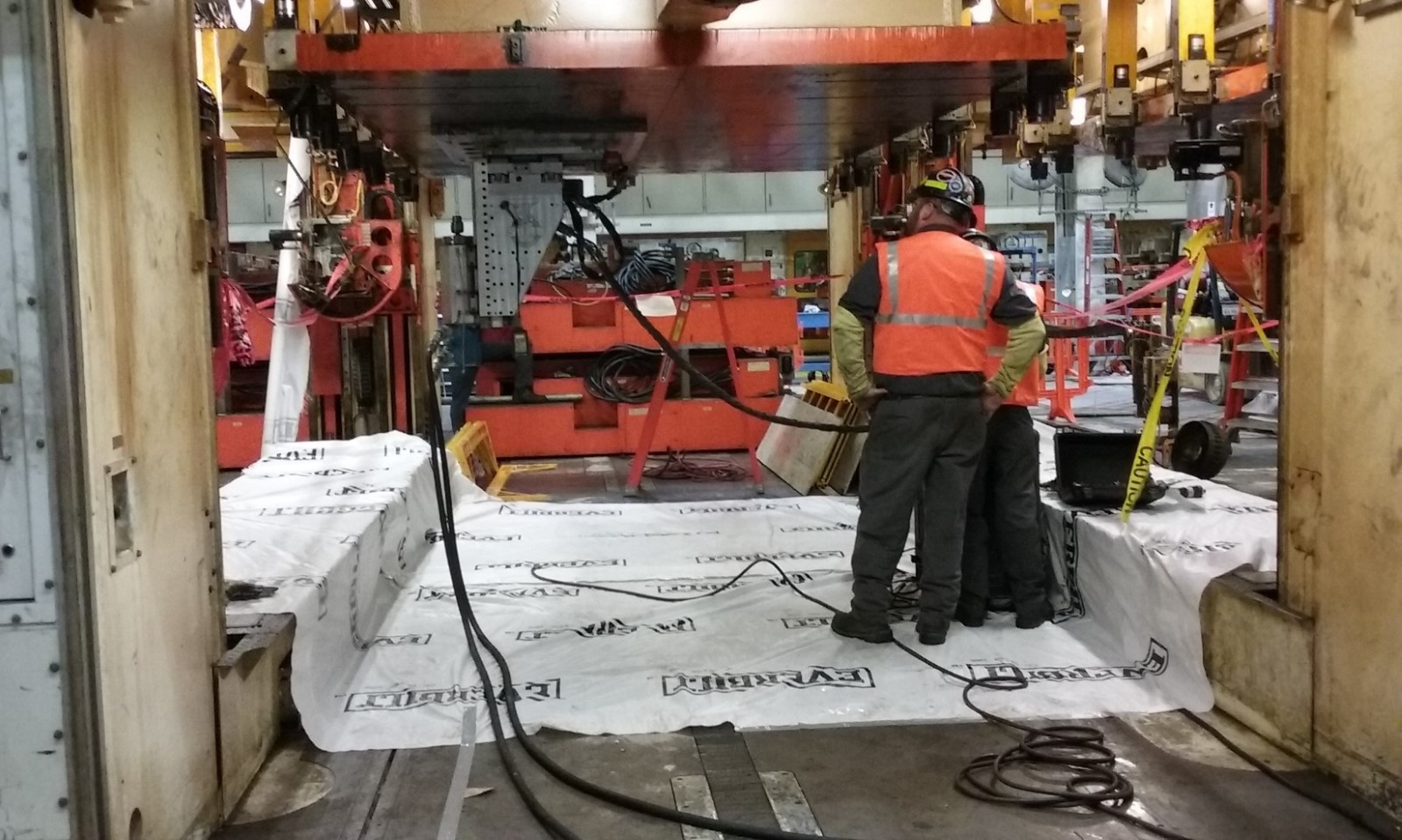 Atlas' On-Site machining team is making design changes to a customer's press bay.